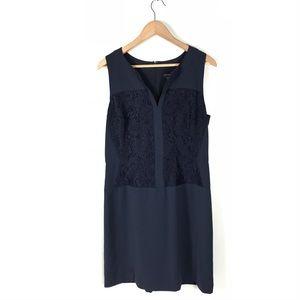 Ann Taylor dress floral lace sleeveless navy 14